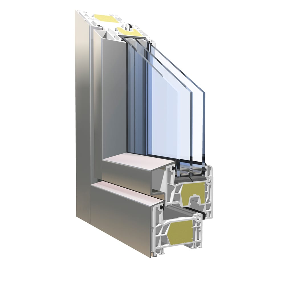 Kbe 76 passive house window system double seal kbe for Door pros