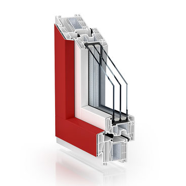 KBE 88 centre seal, offset sealing level of the frame, AluClip red-white