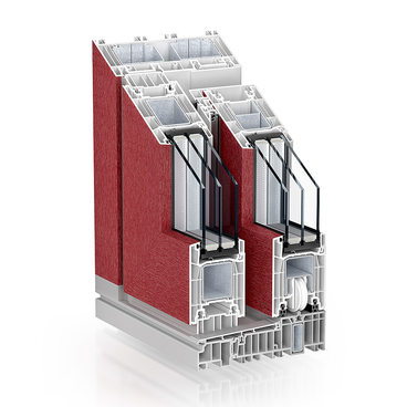 KBE PremiDoor 76 Standard dark red